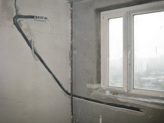 Штробление стены до установки кондиционера